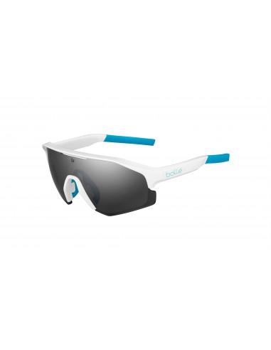 Vista desde la diagonal izquierda de las gafas deportivas Bollé: Lightshifter Shiny White.