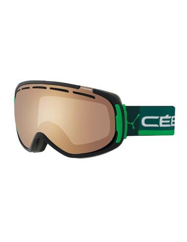 Vista desde la diagonal izquierda de las gafas deportivas Cebé: Feel In Black & Green - Brown.