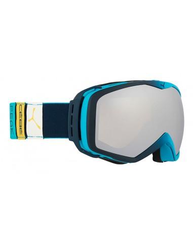 Vista desde la diagonal izquierda de las gafas deportivas Cebé: Peak Blue Tones - Silver Mirror.