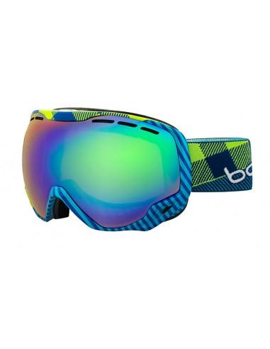 Vista desde la diagonal izquierda de las gafas deportivas Bollé: Emperor Blue & Green Plaid.