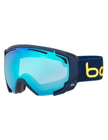 Vista desde la diagonal izquierda de las gafas deportivas Bollé: Supreme OTG Matte Blue & Yellow.