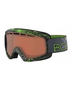 Vista desde la diagonal izquierda de las gafas deportivas Bollé: Nova II Matte Green Zenith Vermillon Gun.