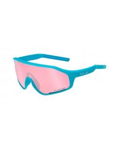 Vista desde la diagonal izquierda de las gafas deportivas Bollé: Shifter Shiny Clear Blue Phantom Vermillon.