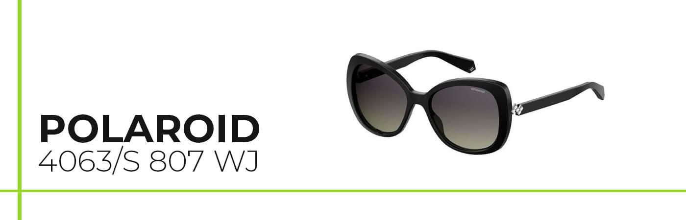 Modelo de gafas de sol de mujer Polaroid para cara alargada y nariz grande.